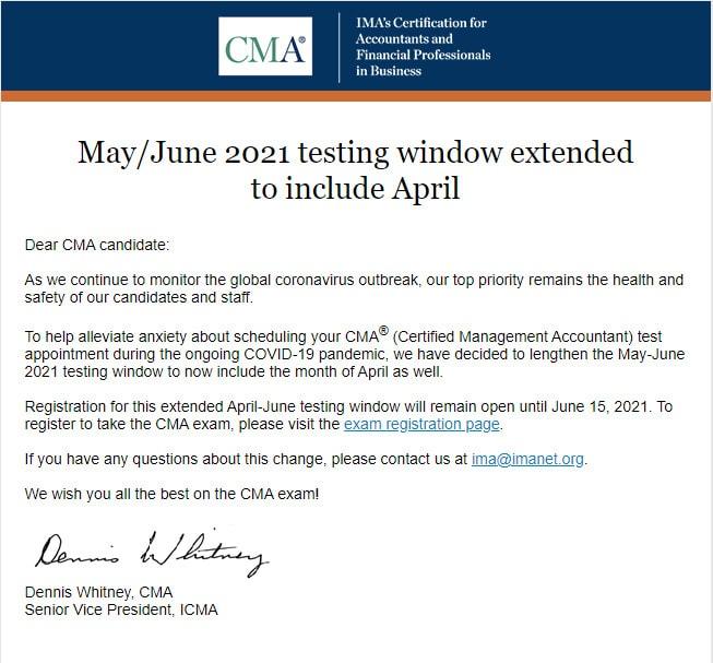 Thông Báo Mở Rộng Thời Gian Thi Chứng Chỉ Kế Toán Quản Trị Hoa Kỳ CMA kỳ tháng 05-06/2021